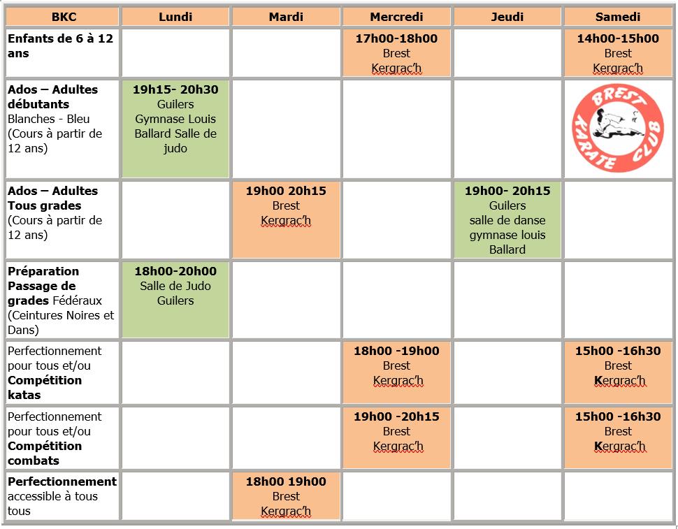 Planning club de karate à Brest
